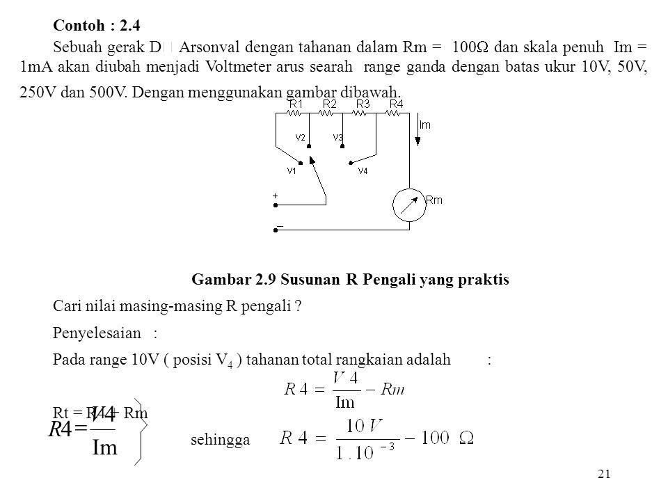 21 Contoh : 2.4 Sebuah gerak D  Arsonval dengan tahanan dalam Rm = 100  dan skala penuh Im = 1mA akan diubah menjadi Voltmeter arus searah range gan