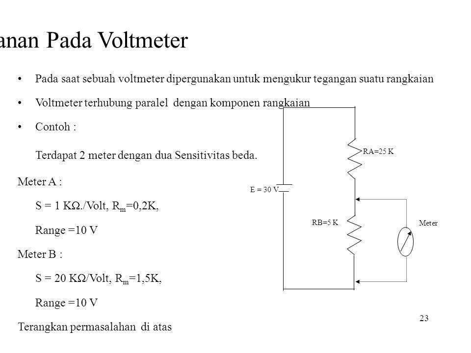 23 Efek Pembebanan Pada Voltmeter •Pada saat sebuah voltmeter dipergunakan untuk mengukur tegangan suatu rangkaian •Voltmeter terhubung paralel dengan