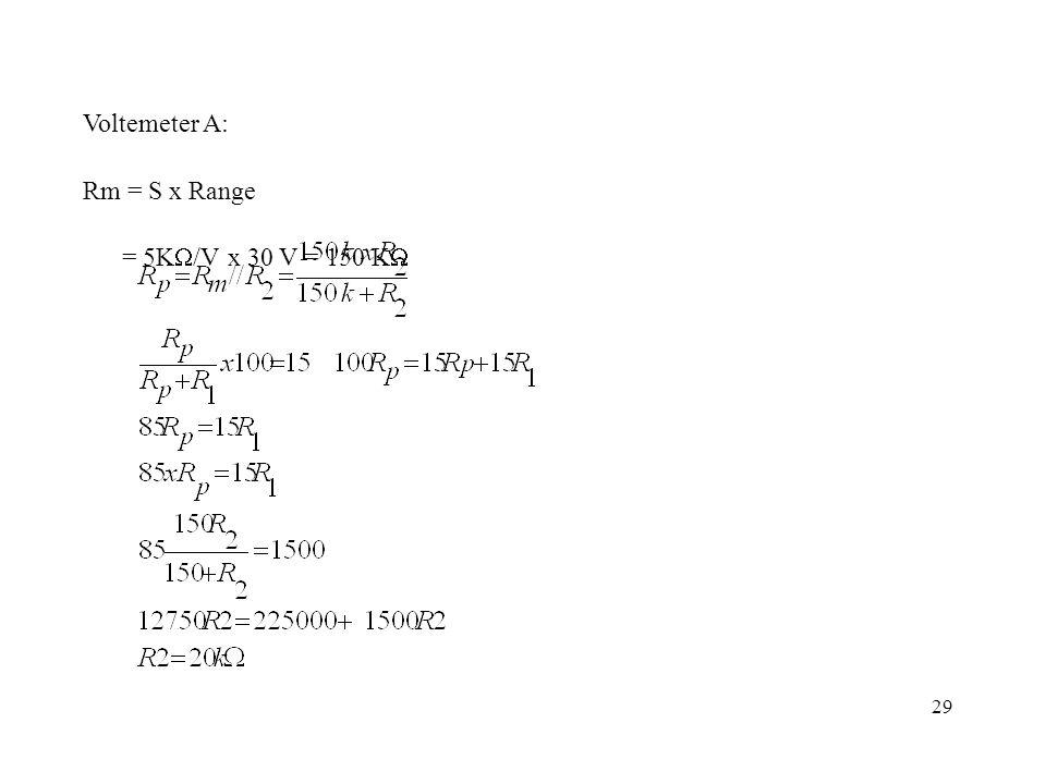 29 Voltemeter A: Rm = S x Range = 5K  /V x 30 V = 150 K 
