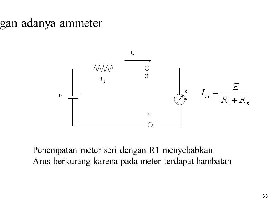 33 Rangkaian dengan adanya ammeter •.•. R1R1 E X Y IeIe RmRm Penempatan meter seri dengan R1 menyebabkan Arus berkurang karena pada meter terdapat ham