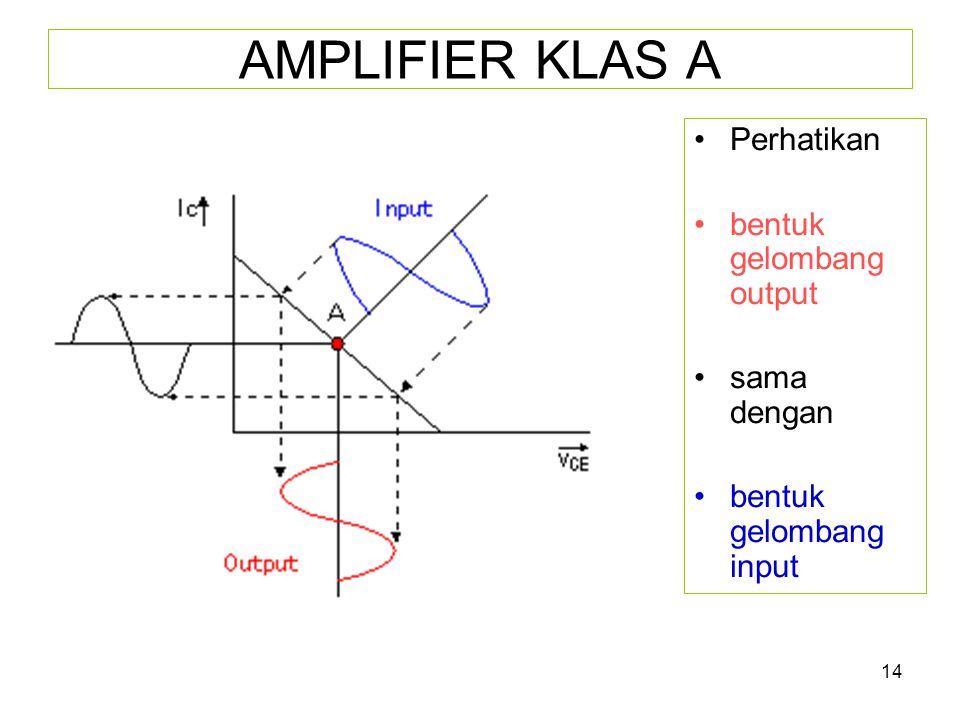 14 AMPLIFIER KLAS A •Perhatikan •bentuk gelombang output •sama dengan •bentuk gelombang input