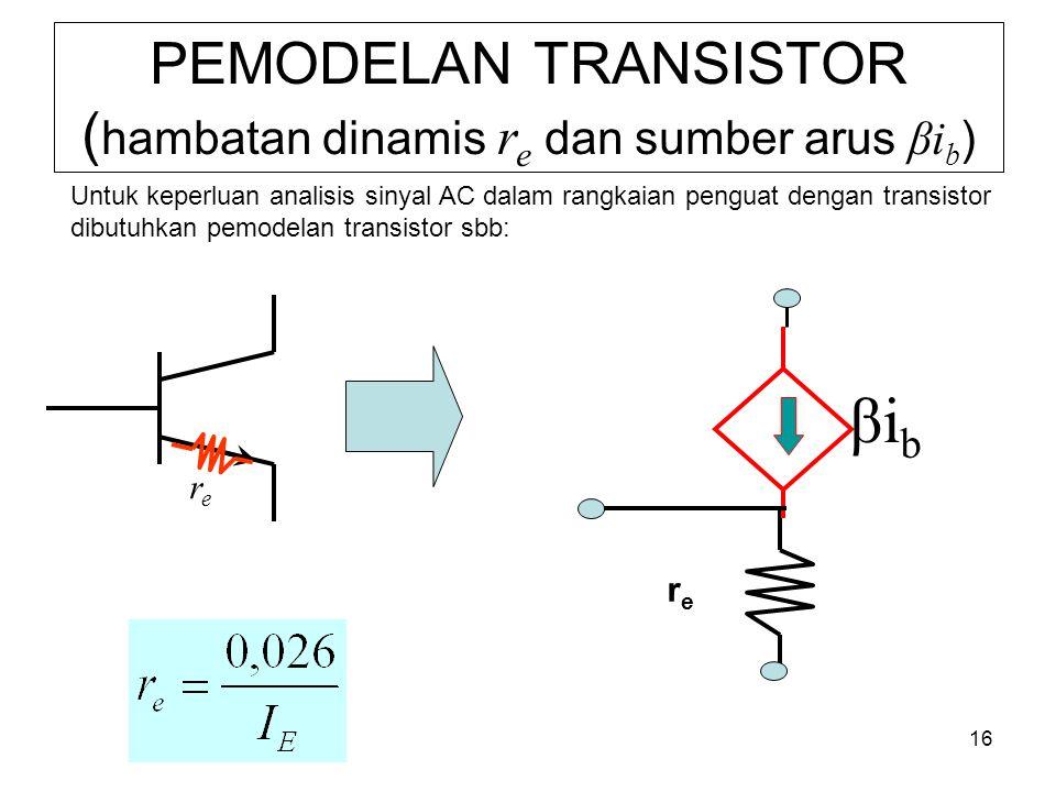 16 PEMODELAN TRANSISTOR ( hambatan dinamis r e dan sumber arus βi b ) rere βibβib rere Untuk keperluan analisis sinyal AC dalam rangkaian penguat dengan transistor dibutuhkan pemodelan transistor sbb: