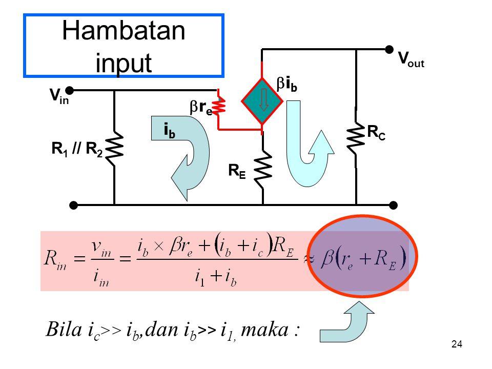 24 Hambatan input V in RCRC V out RERE R 1 // R 2 rere ibib ibib Bila i c >> i b,dan i b >> i 1, maka :