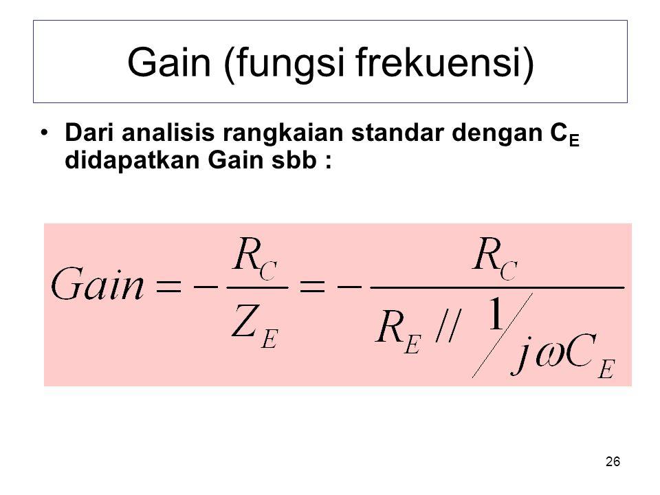 26 Gain (fungsi frekuensi) •Dari analisis rangkaian standar dengan C E didapatkan Gain sbb :