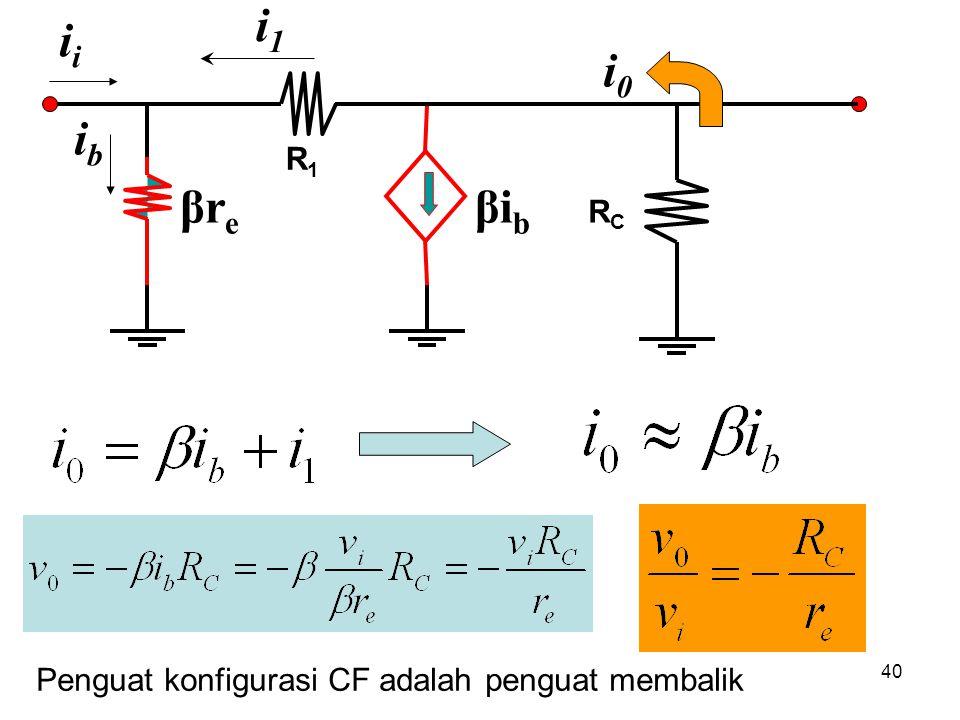 40 R1R1 βreβre RCRC βibβib ibib i i1i1 i0i0 Penguat konfigurasi CF adalah penguat membalik