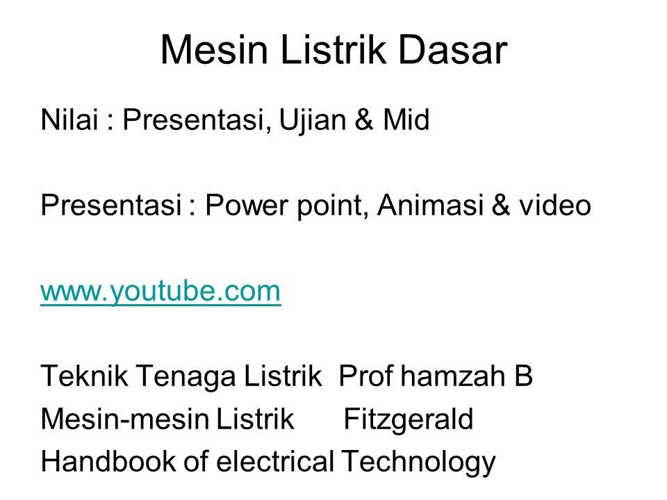 Mesin Listrik Dasar Nilai : Presentasi, Ujian & Mid Presentasi : Power point, Animasi & video www.youtube.com Teknik Tenaga Listrik Prof hamzah B Mesi