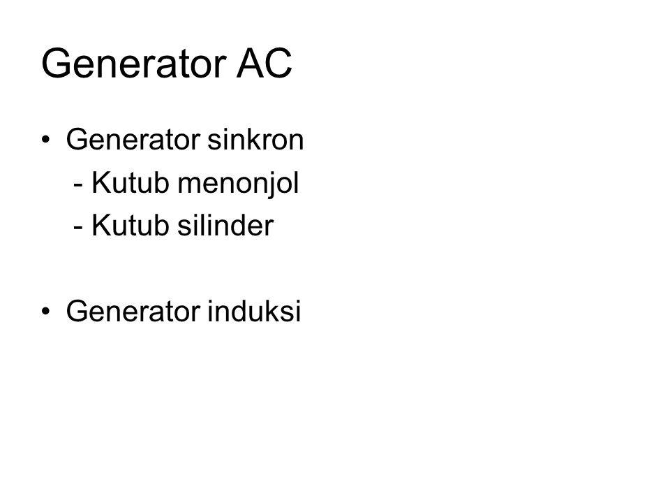 Generator AC •Generator sinkron - Kutub menonjol - Kutub silinder •Generator induksi