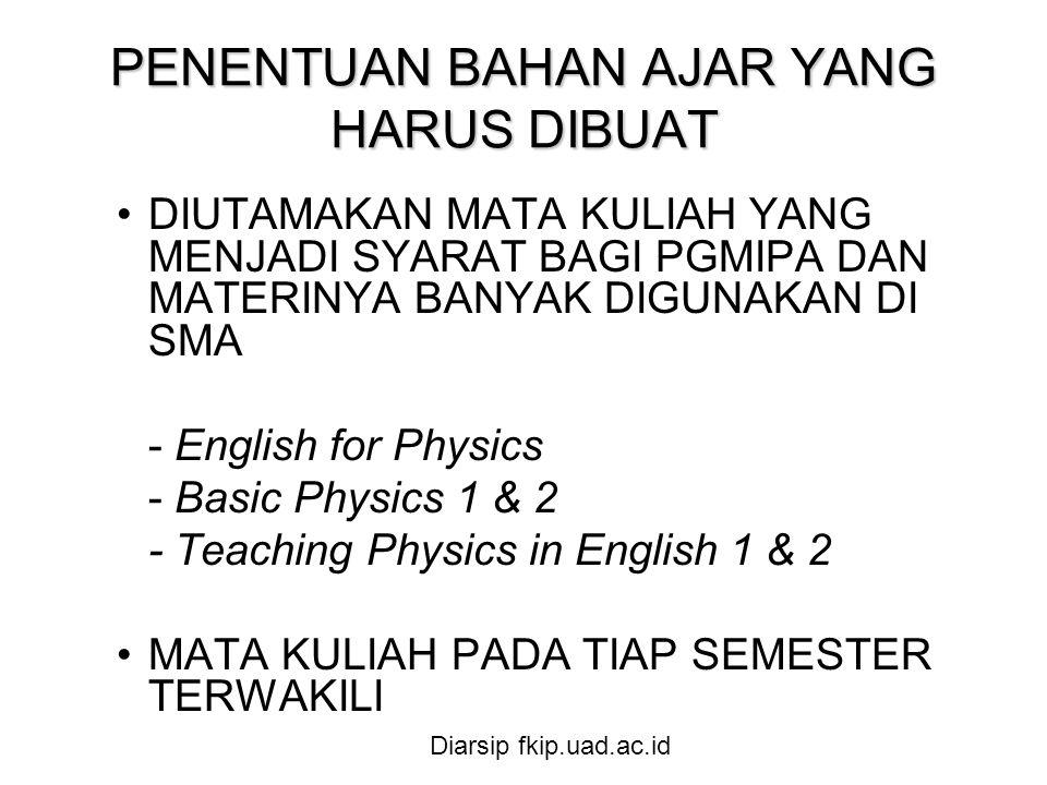 PENENTUAN BAHAN AJAR YANG HARUS DIBUAT •DIUTAMAKAN MATA KULIAH YANG MENJADI SYARAT BAGI PGMIPA DAN MATERINYA BANYAK DIGUNAKAN DI SMA - English for Physics - Basic Physics 1 & 2 - Teaching Physics in English 1 & 2 •MATA KULIAH PADA TIAP SEMESTER TERWAKILI