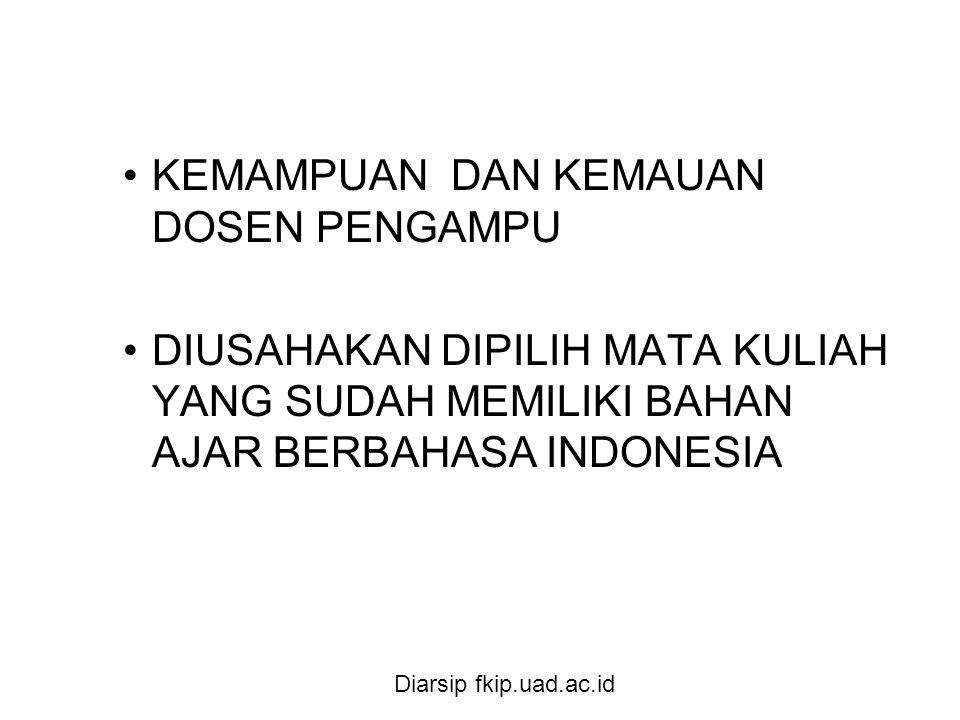 Diarsip fkip.uad.ac.id •KEMAMPUAN DAN KEMAUAN DOSEN PENGAMPU •DIUSAHAKAN DIPILIH MATA KULIAH YANG SUDAH MEMILIKI BAHAN AJAR BERBAHASA INDONESIA
