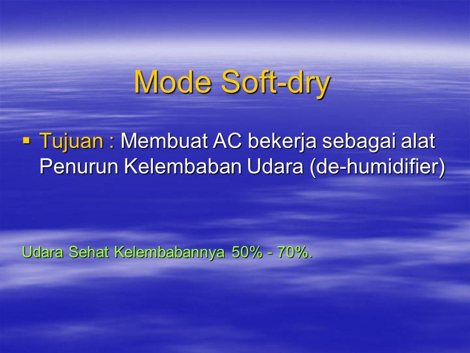 Mode Cooling  Tujuan : Mendinginkan Ruangan sesuai dengan Setting Temperatur yang diinginkan Catatan : Pada mode ini kecepatan Fan dapat diatur secar