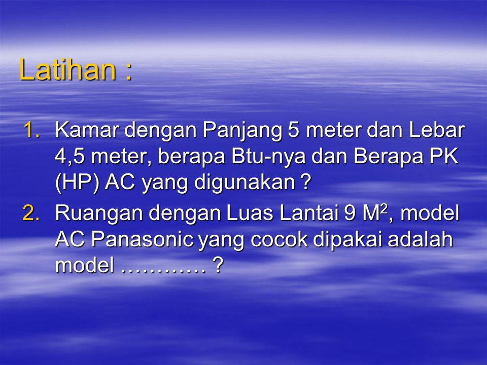 Contoh Perhitungan Praktis Luas Ruangan = 12M 2 Luas Ruangan = 12M 2 Btu yang dibutuhkan = 12 X 500 Btu/jam Btu yang dibutuhkan = 12 X 500 Btu/jam = 6000 Btu/jam = 6000 Btu/jam