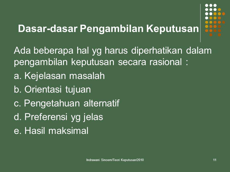 Indrawani Sinoem/Teori Keputusan/201011 Dasar-dasar Pengambilan Keputusan Ada beberapa hal yg harus diperhatikan dalam pengambilan keputusan secara ra