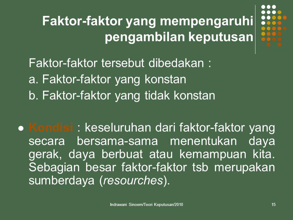 Indrawani Sinoem/Teori Keputusan/201015 Faktor-faktor yang mempengaruhi pengambilan keputusan Faktor-faktor tersebut dibedakan : a. Faktor-faktor yang