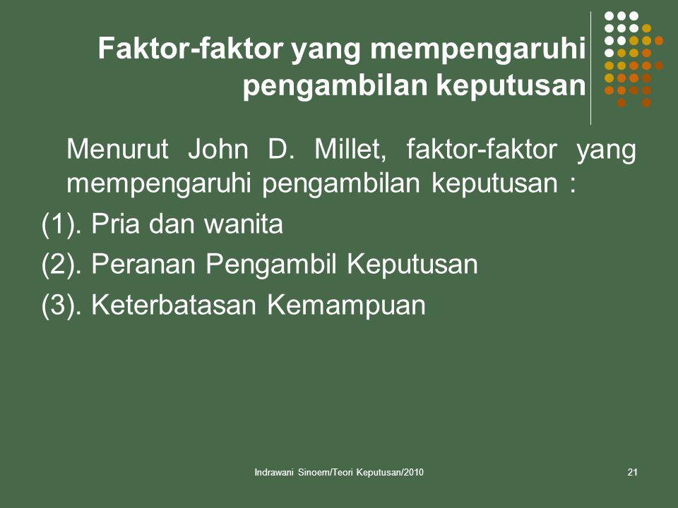 Indrawani Sinoem/Teori Keputusan/201021 Faktor-faktor yang mempengaruhi pengambilan keputusan Menurut John D.