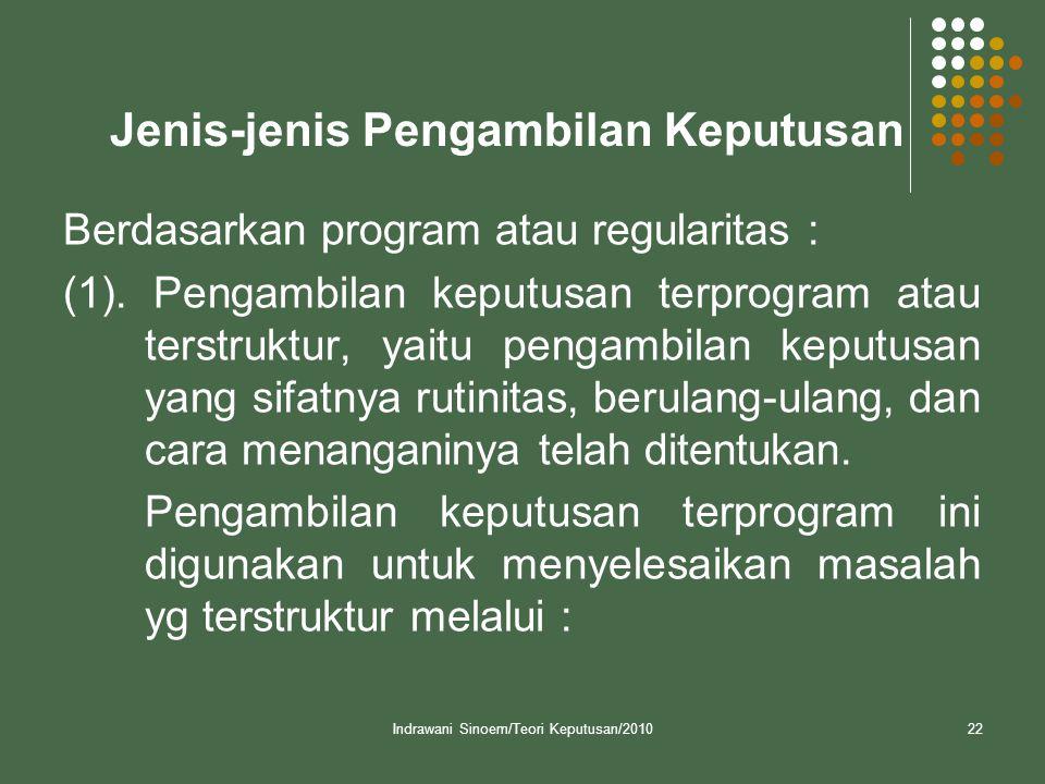 Indrawani Sinoem/Teori Keputusan/201022 Jenis-jenis Pengambilan Keputusan Berdasarkan program atau regularitas : (1). Pengambilan keputusan terprogram