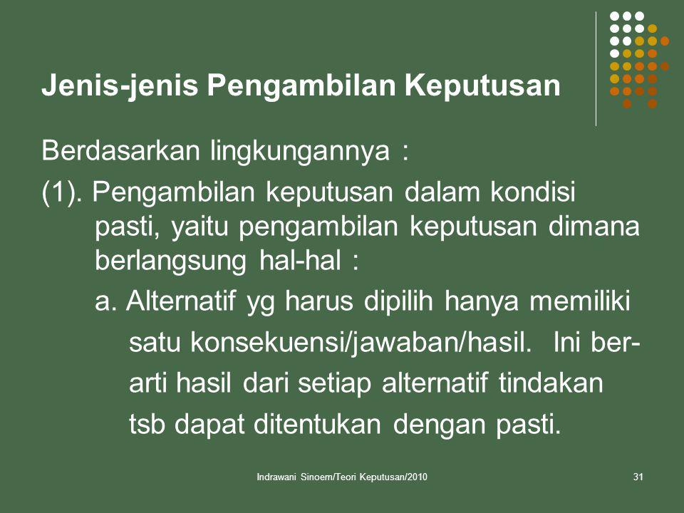 Indrawani Sinoem/Teori Keputusan/201031 Jenis-jenis Pengambilan Keputusan Berdasarkan lingkungannya : (1).