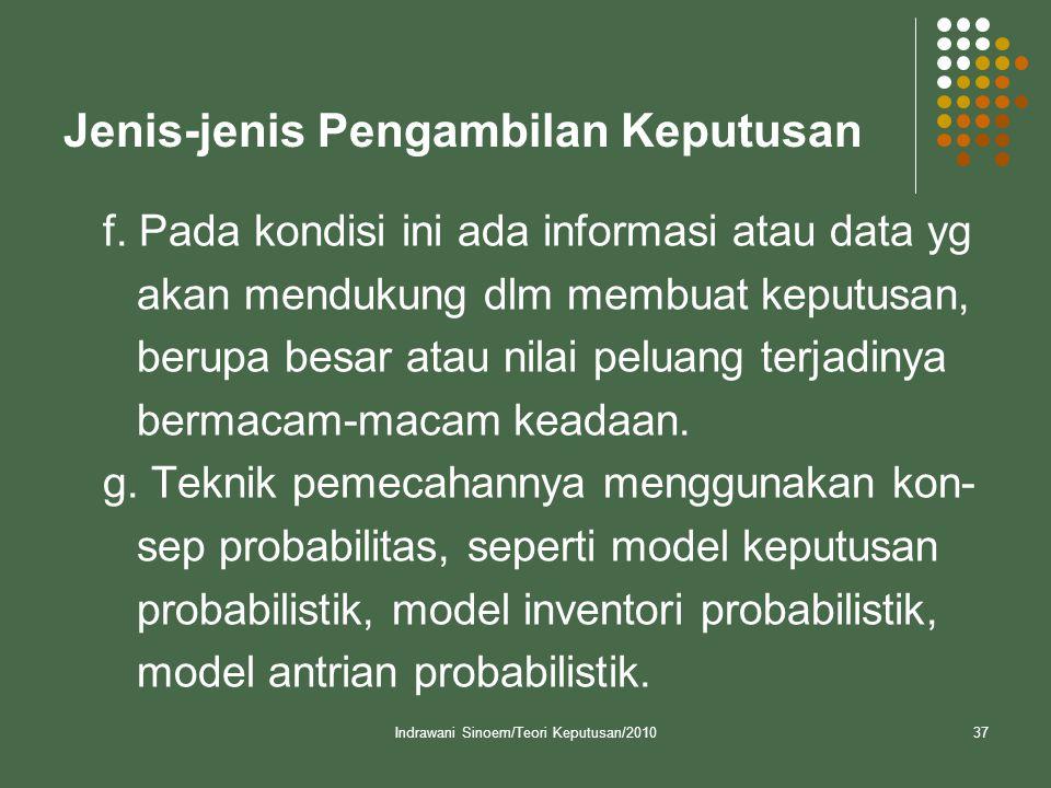 Indrawani Sinoem/Teori Keputusan/201037 Jenis-jenis Pengambilan Keputusan f. Pada kondisi ini ada informasi atau data yg akan mendukung dlm membuat ke