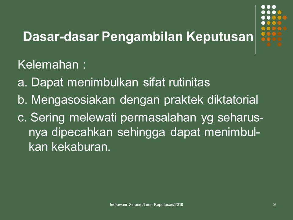 Indrawani Sinoem/Teori Keputusan/20109 Dasar-dasar Pengambilan Keputusan Kelemahan : a.