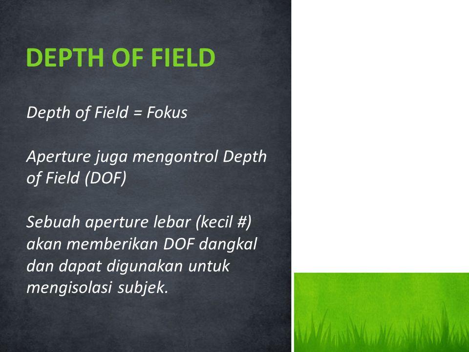Depth of Field = Fokus Aperture juga mengontrol Depth of Field (DOF) Sebuah aperture lebar (kecil #) akan memberikan DOF dangkal dan dapat digunakan untuk mengisolasi subjek.