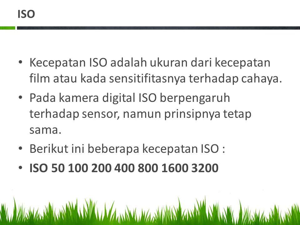 ISO • Kecepatan ISO adalah ukuran dari kecepatan film atau kada sensitifitasnya terhadap cahaya.