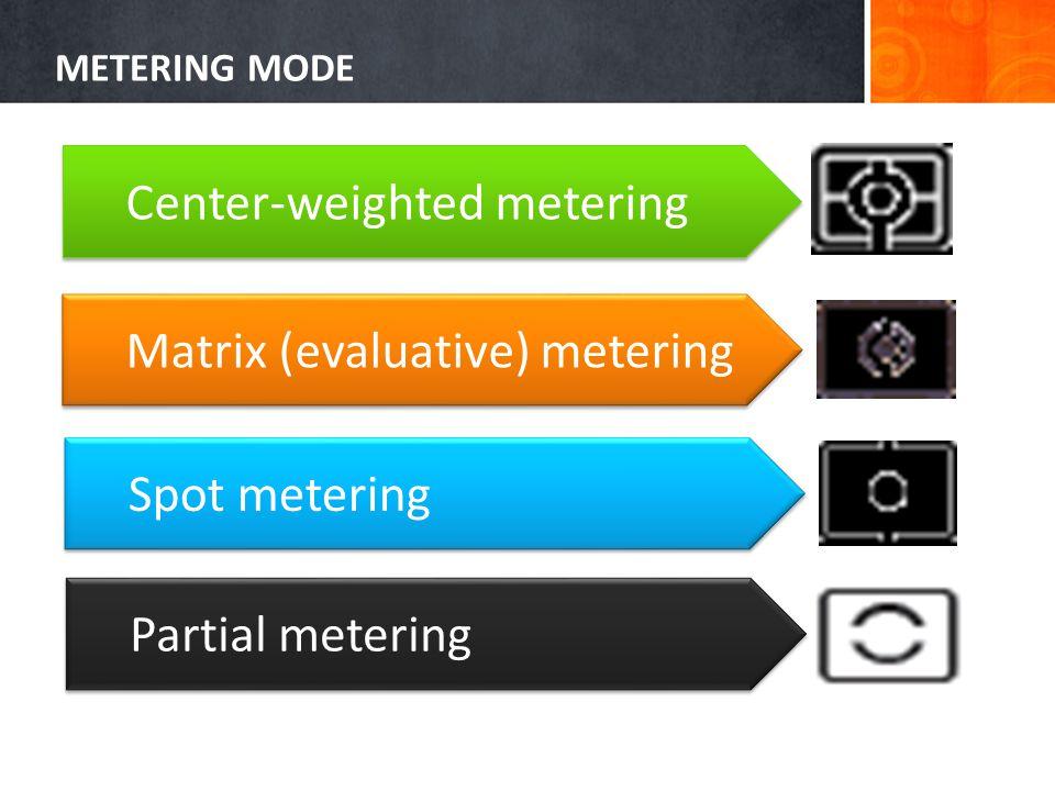 METERING MODE Center-weighted metering Matrix (evaluative) metering Spot metering Partial metering
