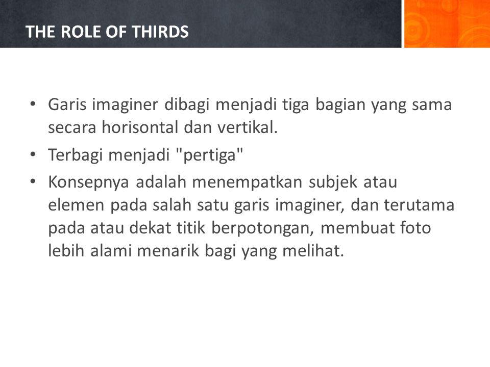 • Garis imaginer dibagi menjadi tiga bagian yang sama secara horisontal dan vertikal.