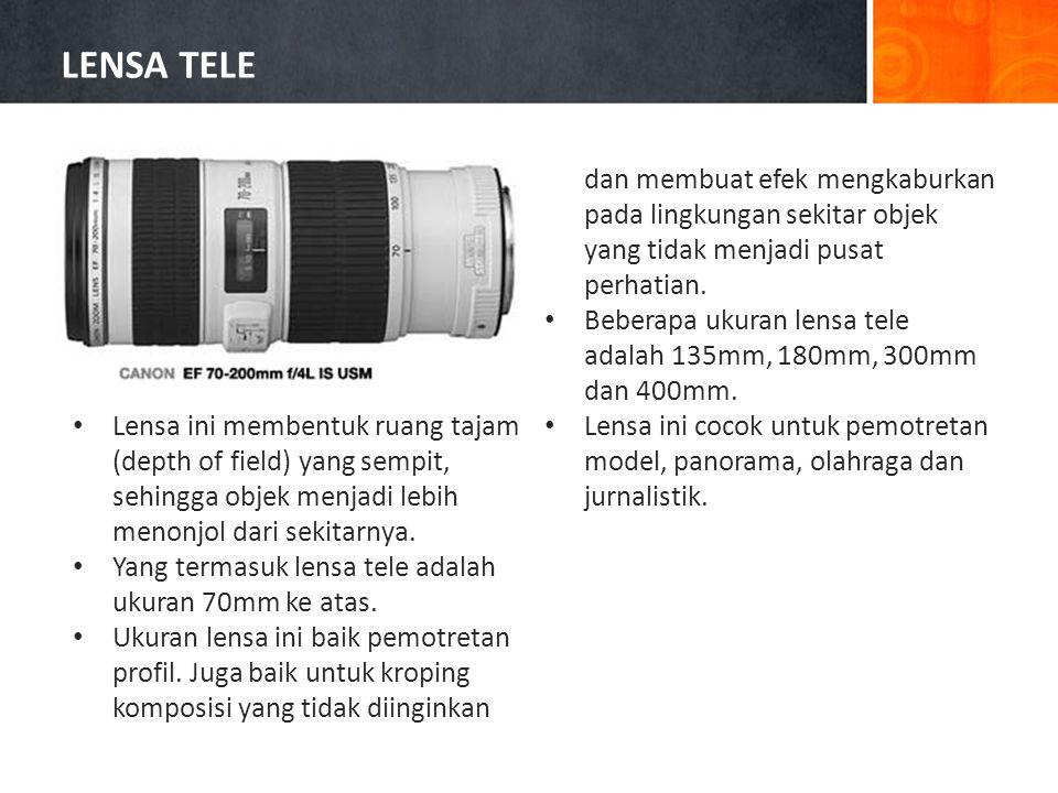 • Lensa ini membentuk ruang tajam (depth of field) yang sempit, sehingga objek menjadi lebih menonjol dari sekitarnya.