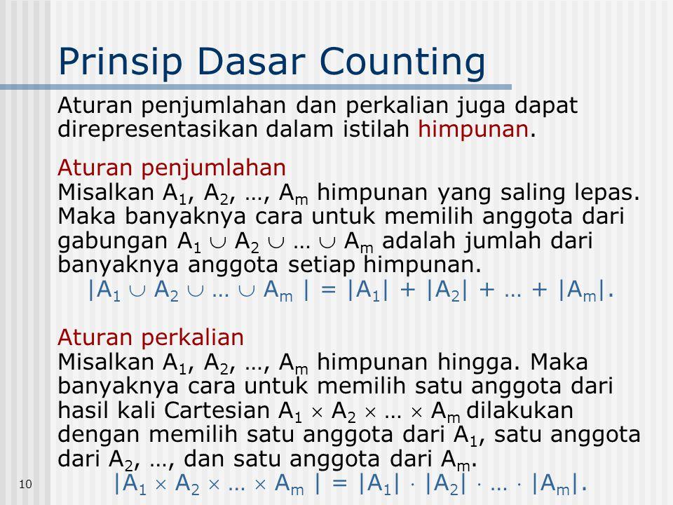 10 Prinsip Dasar Counting Aturan penjumlahan dan perkalian juga dapat direpresentasikan dalam istilah himpunan. Aturan penjumlahan Misalkan A 1, A 2,