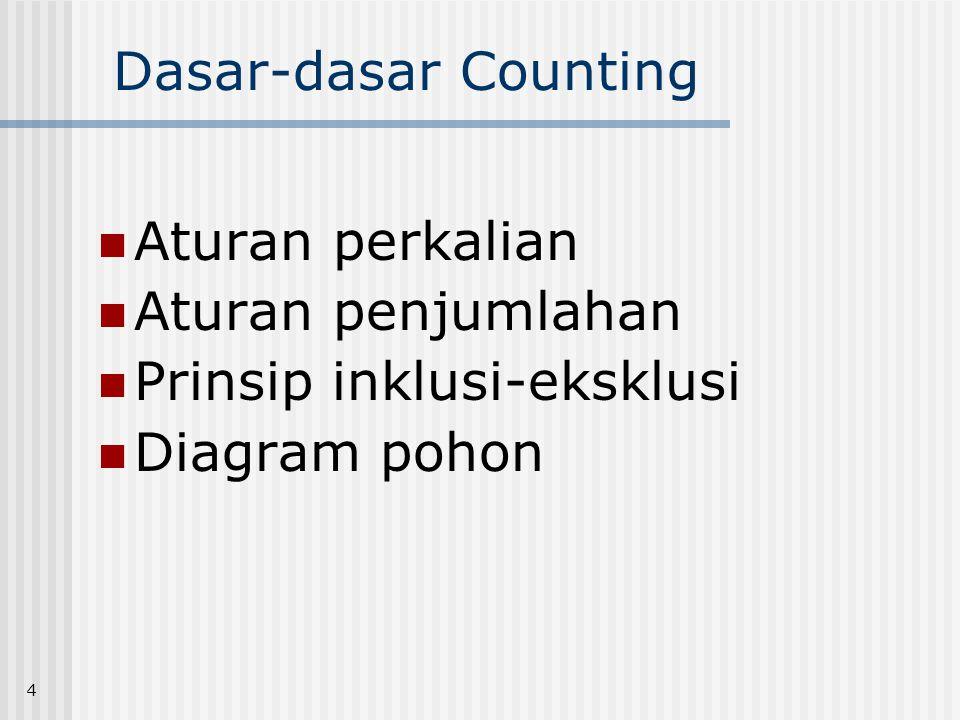 4 Dasar-dasar Counting  Aturan perkalian  Aturan penjumlahan  Prinsip inklusi-eksklusi  Diagram pohon