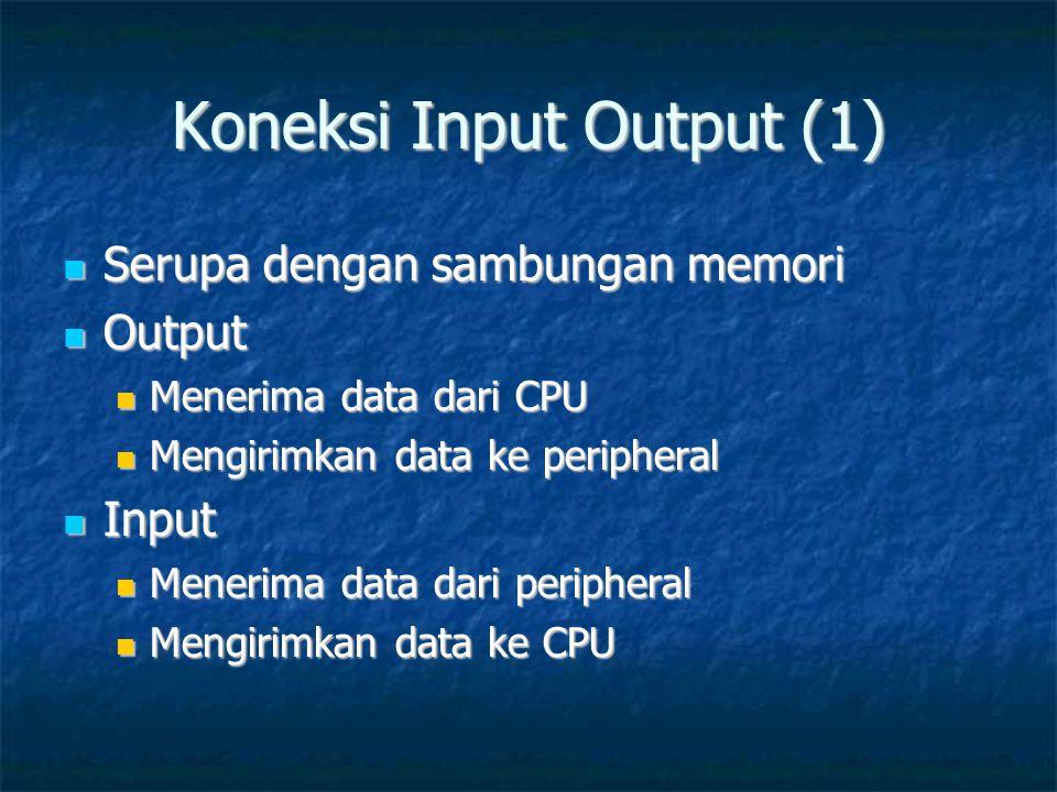 Koneksi Input Output (1)  Serupa dengan sambungan memori  Output  Menerima data dari CPU  Mengirimkan data ke peripheral  Input  Menerima data d