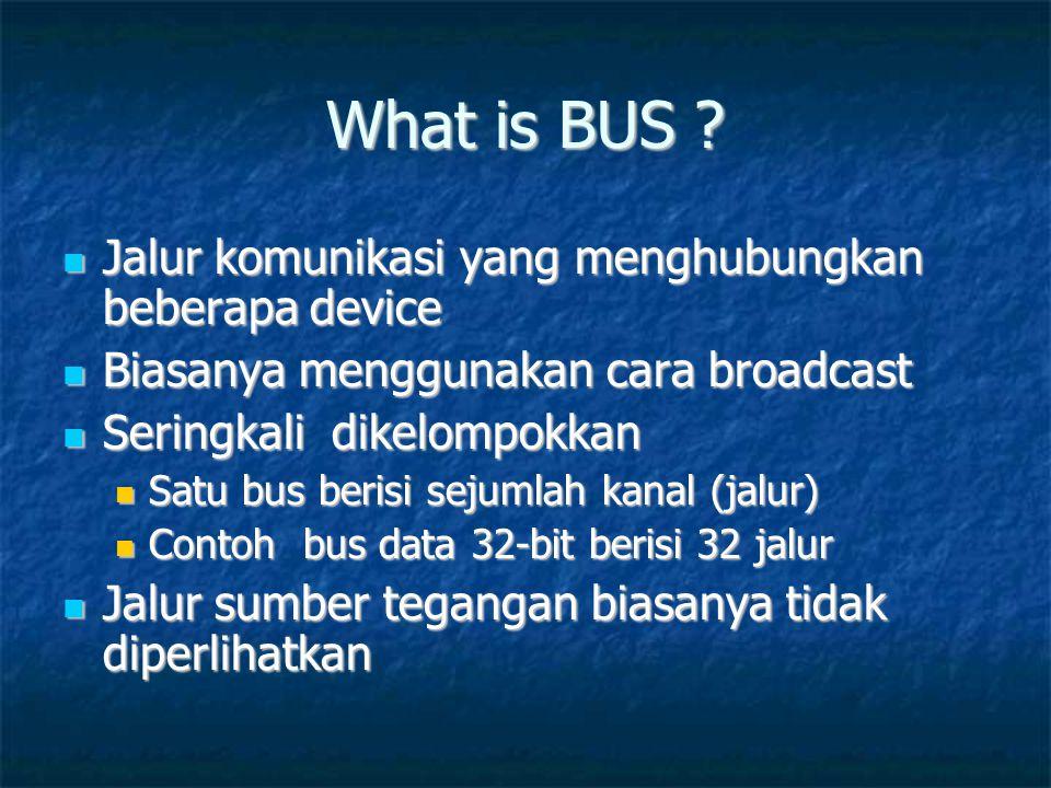 What is BUS ?  Jalur komunikasi yang menghubungkan beberapa device  Biasanya menggunakan cara broadcast  Seringkali dikelompokkan  Satu bus berisi