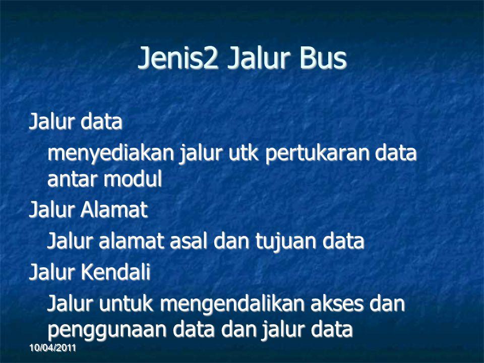 Jenis2 Jalur Bus Jalur data menyediakan jalur utk pertukaran data antar modul Jalur Alamat Jalur alamat asal dan tujuan data Jalur Kendali Jalur untuk mengendalikan akses dan penggunaan data dan jalur data 10/04/2011