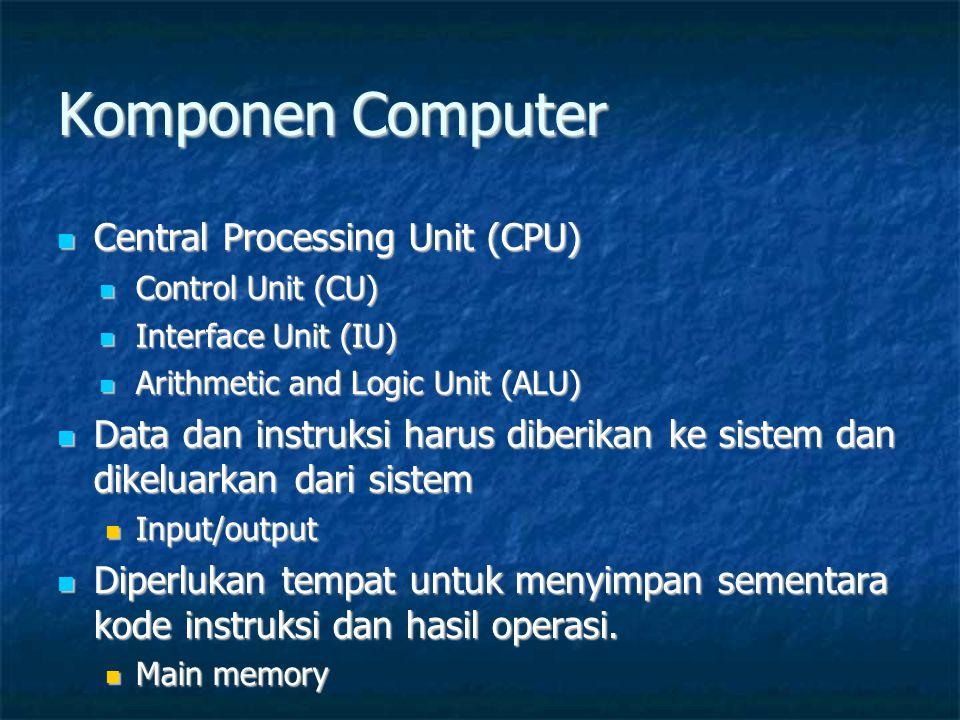 Komponen Computer  Central Processing Unit (CPU)  Control Unit (CU)  Interface Unit (IU)  Arithmetic and Logic Unit (ALU)  Data dan instruksi harus diberikan ke sistem dan dikeluarkan dari sistem  Input/output  Diperlukan tempat untuk menyimpan sementara kode instruksi dan hasil operasi.
