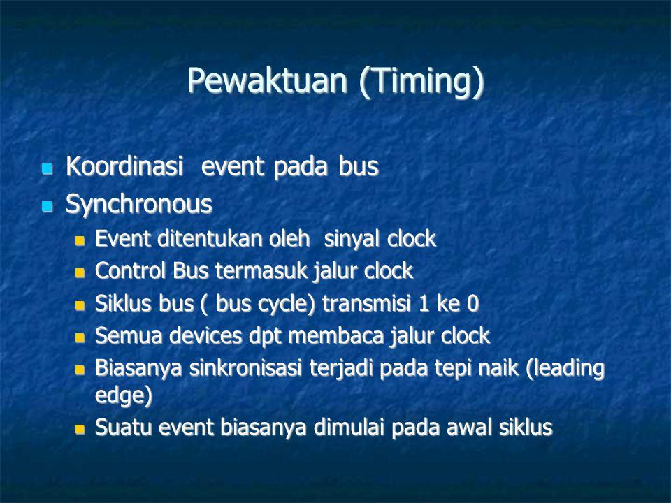 Pewaktuan (Timing)  Koordinasi event pada bus  Synchronous  Event ditentukan oleh sinyal clock  Control Bus termasuk jalur clock  Siklus bus ( bus cycle) transmisi 1 ke 0  Semua devices dpt membaca jalur clock  Biasanya sinkronisasi terjadi pada tepi naik (leading edge)  Suatu event biasanya dimulai pada awal siklus