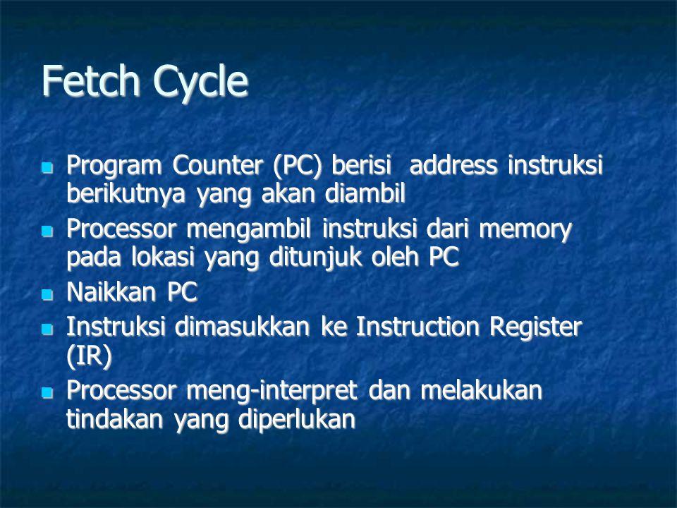 Fetch Cycle  Program Counter (PC) berisi address instruksi berikutnya yang akan diambil  Processor mengambil instruksi dari memory pada lokasi yang ditunjuk oleh PC  Naikkan PC  Instruksi dimasukkan ke Instruction Register (IR)  Processor meng-interpret dan melakukan tindakan yang diperlukan