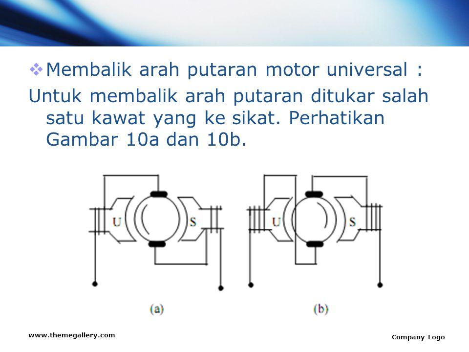 www.themegallery.com Company Logo  Membalik arah putaran motor universal : Untuk membalik arah putaran ditukar salah satu kawat yang ke sikat. Perhat