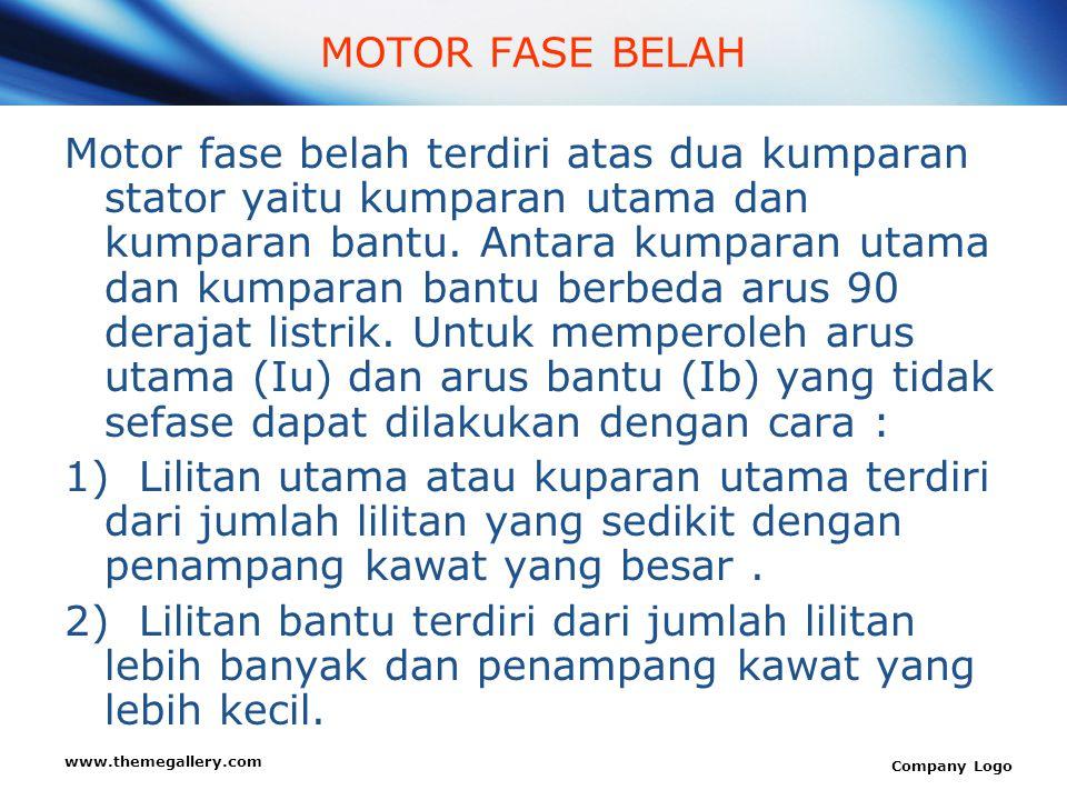 www.themegallery.com Company Logo MOTOR FASE BELAH Motor fase belah terdiri atas dua kumparan stator yaitu kumparan utama dan kumparan bantu. Antara k