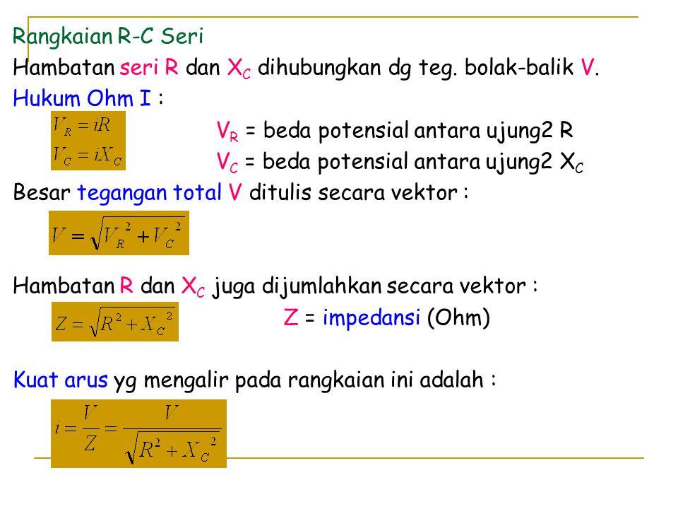 Rangkaian R-C Seri Hambatan seri R dan X C dihubungkan dg teg. bolak-balik V. Hukum Ohm I : V R = beda potensial antara ujung2 R V C = beda potensial