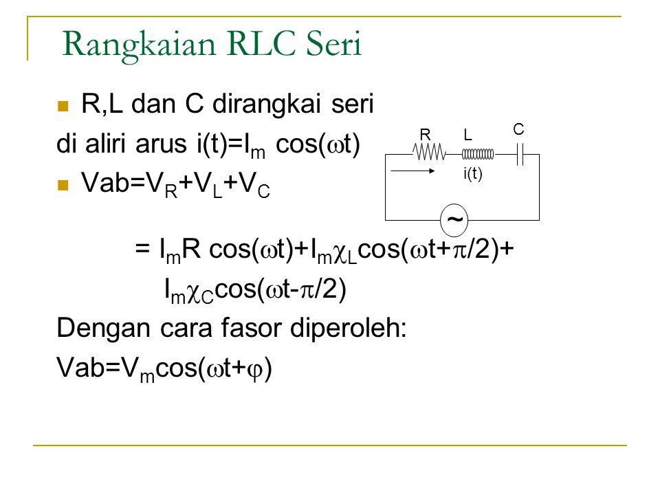 Rangkaian RLC Seri  R,L dan C dirangkai seri di aliri arus i(t)=I m cos(  t)  Vab=V R +V L +V C = I m R cos(  t)+I m  L cos(  t+  /2)+ I m  C