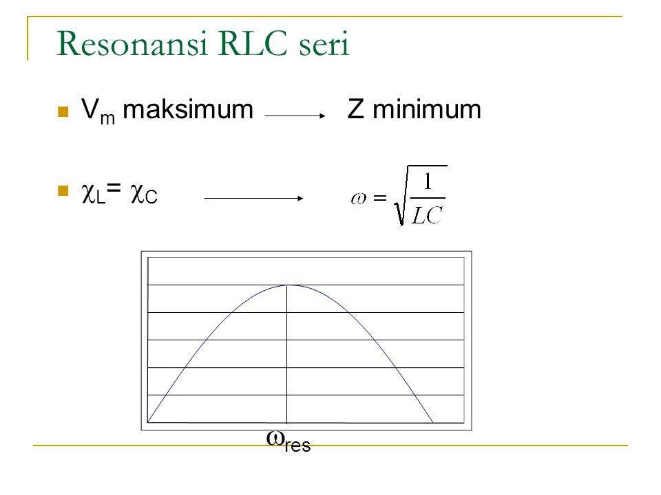 Resonansi RLC seri  V m maksimum Z minimum   L =  C  res