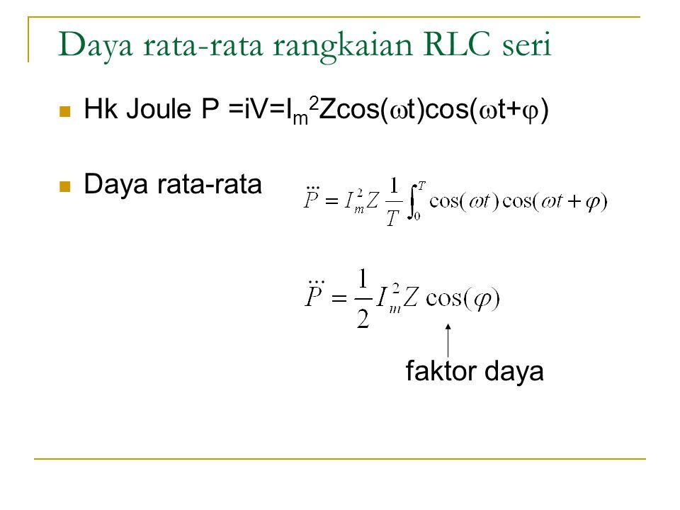 Daya rata-rata rangkaian RLC seri  Hk Joule P =iV=I m 2 Zcos(  t)cos(  t+  )  Daya rata-rata faktor daya