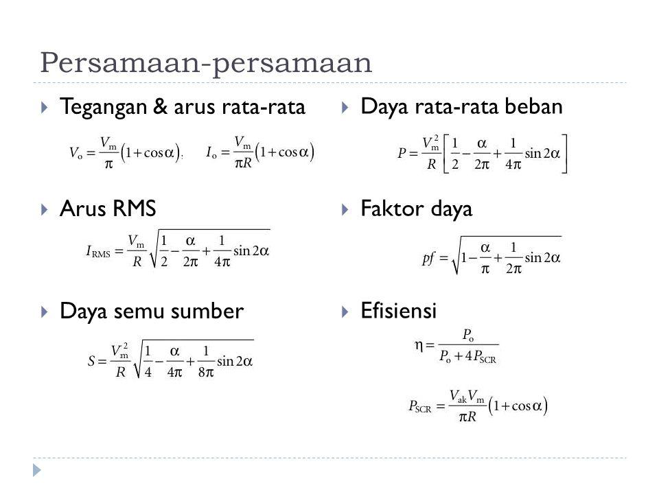 Persamaan-persamaan  Tegangan & arus rata-rata  Arus RMS  Daya semu sumber  Daya rata-rata beban  Faktor daya  Efisiensi