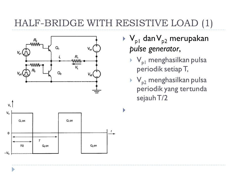 HALF-BRIDGE WITH RESISTIVE LOAD (1)  V p1 dan V p2 merupakan pulse generator,  V p1 menghasilkan pulsa periodik setiap T,  V p2 menghasilkan pulsa