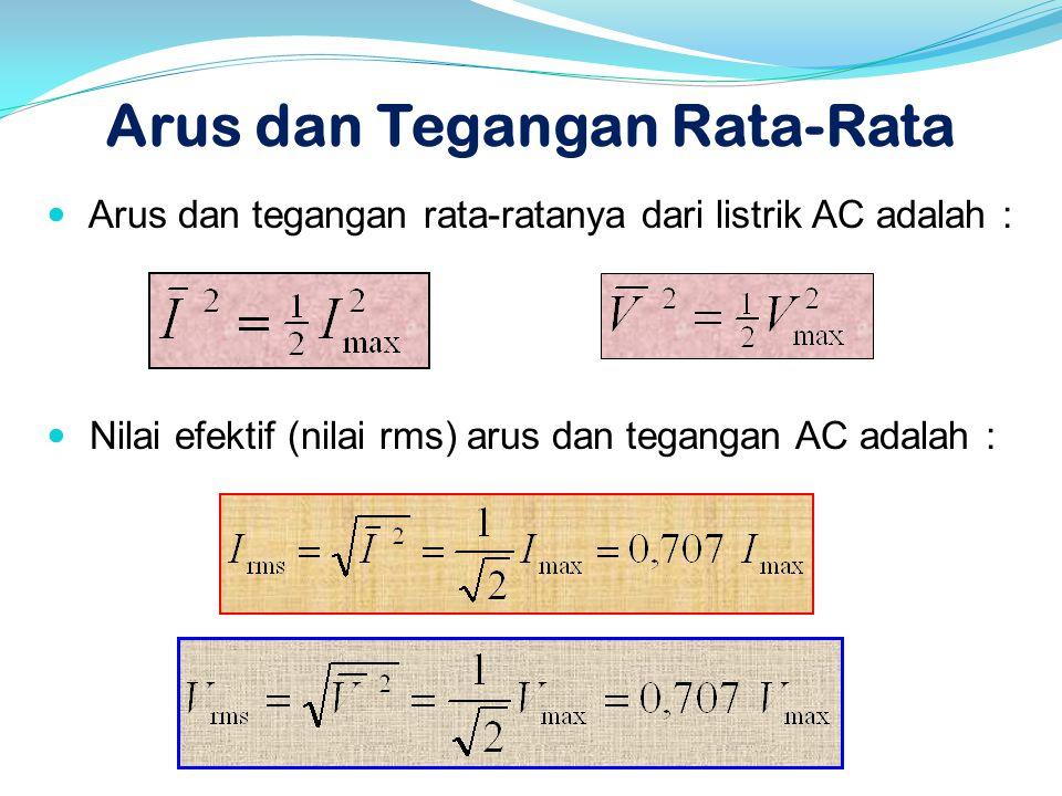 Arus dan Tegangan Rata-Rata  Arus dan tegangan rata-ratanya dari listrik AC adalah :  Nilai efektif (nilai rms) arus dan tegangan AC adalah :