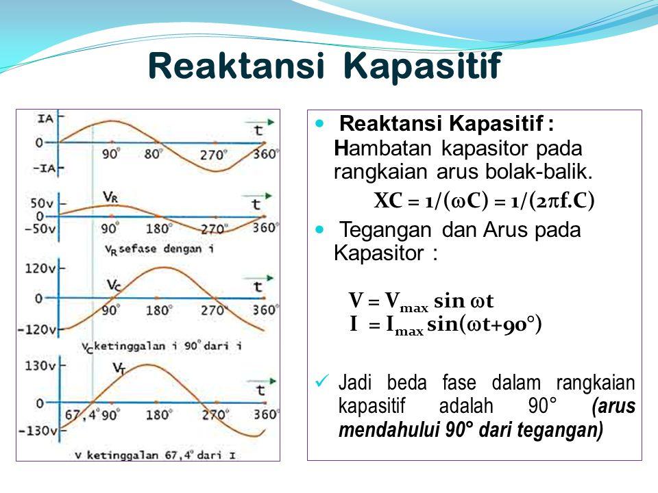 Reaktansi Kapasitif  Reaktansi Kapasitif : Hambatan kapasitor pada rangkaian arus bolak-balik. XC = 1/(  C) = 1/(2  f.C)  Tegangan dan Arus pada K