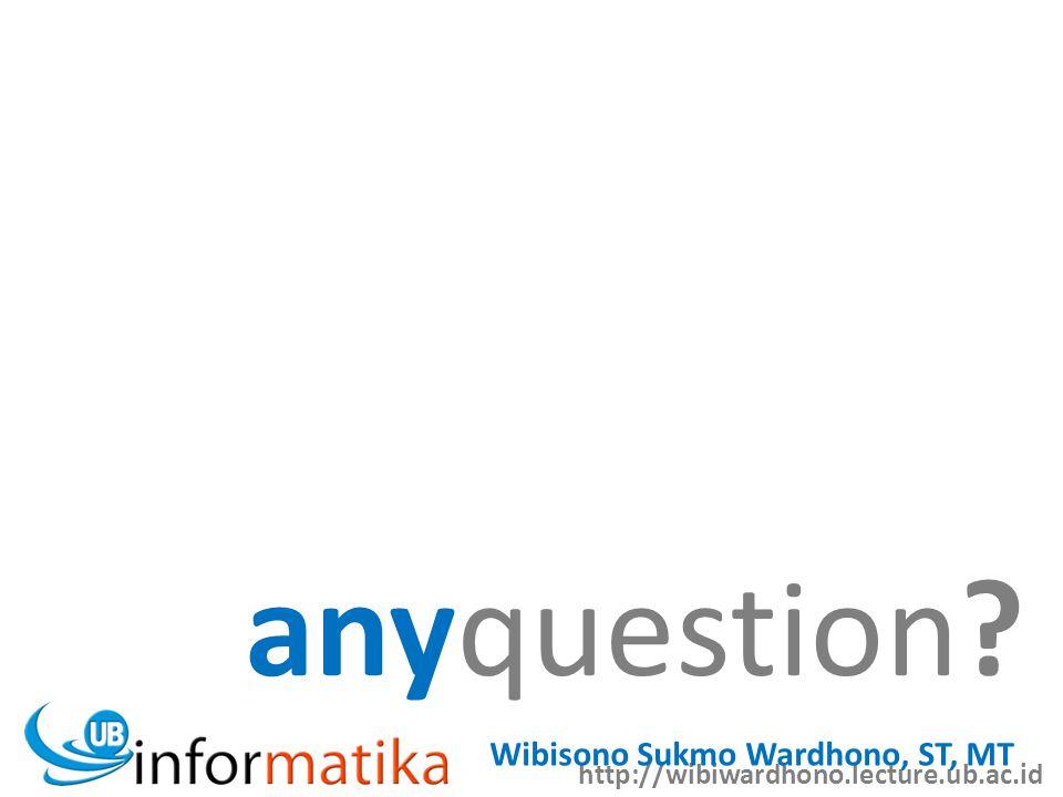 http://wibiwardhono.lecture.ub.ac.id Wibisono Sukmo Wardhono, ST, MT anyquestion