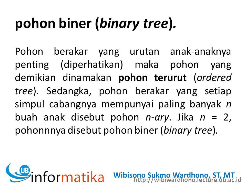 http://wibiwardhono.lecture.ub.ac.id Wibisono Sukmo Wardhono, ST, MT pohon biner (binary tree).