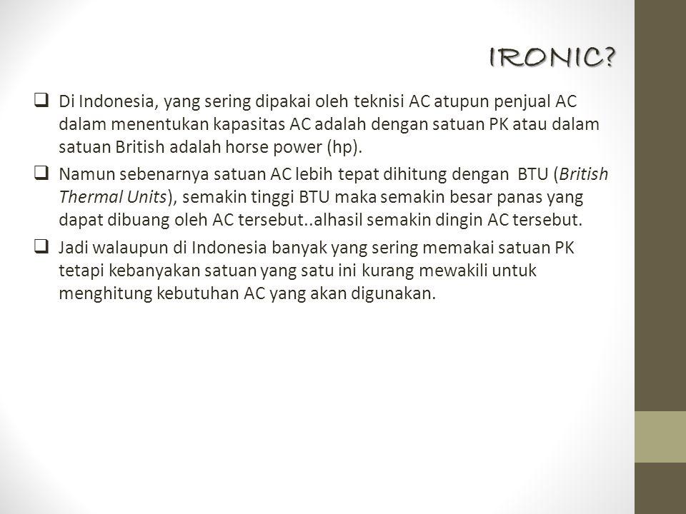  Di Indonesia, yang sering dipakai oleh teknisi AC atupun penjual AC dalam menentukan kapasitas AC adalah dengan satuan PK atau dalam satuan British adalah horse power (hp).