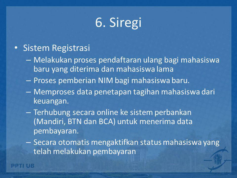 6. Siregi • Sistem Registrasi – Melakukan proses pendaftaran ulang bagi mahasiswa baru yang diterima dan mahasiswa lama – Proses pemberian NIM bagi ma