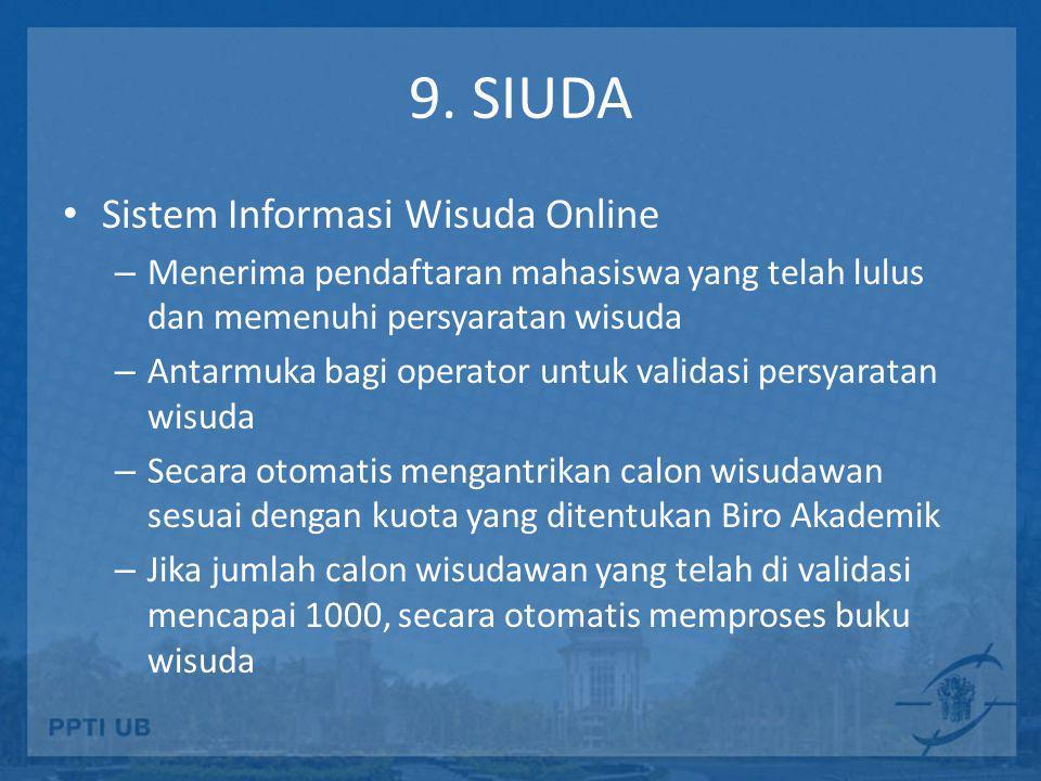 9. SIUDA • Sistem Informasi Wisuda Online – Menerima pendaftaran mahasiswa yang telah lulus dan memenuhi persyaratan wisuda – Antarmuka bagi operator